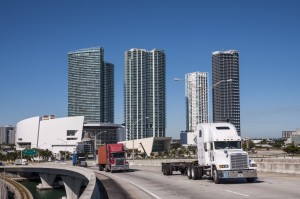 Trucks on the bridge in Miami, Florida, USA