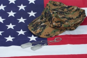 us marine camouflage cap with blank dog tag on us flag background